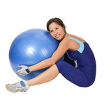 Hugging the gym ball royalty free stock image