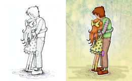 Hugging. Illustration of hugging couple. On left side black and white drawing isolated on white backround, on right side colored illustration with forest Stock Photo