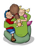 Hugging. Illustration of a mother, a boy and a girl hugging Royalty Free Stock Image
