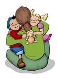Hugging. Illustration of a mother, a boy and a girl hugging royalty free illustration