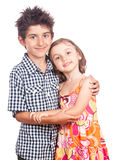 Hugging kids portrait Stock Photos