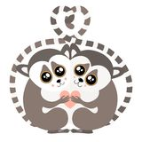 Hugging Lemur Postcard Vector illustration stock illustration