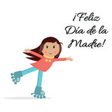 Hugging little girl on rollers. Great for Mother`s day print with girl, congratulation text. Lettering title in Spanish Stock Photography