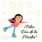 Hugging little girl on rollers. Great for Mother`s day print with girl, congratulation text and suns. Lettering title in Spanish Royalty Free Stock Images
