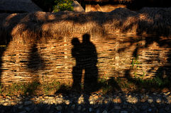 Hugging lovers shadow Royalty Free Stock Photo