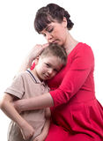 Hugging loving mother and her son. On white background stock photos