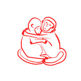 Hugging monkeys red Royalty Free Stock Images