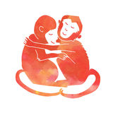 Hugging monkeys red. Pair of hugging monkeys red Stock Photos