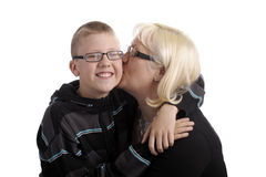 Hugging mother and son Royalty Free Stock Images