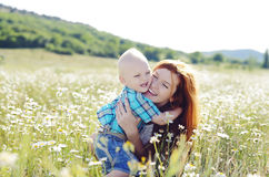 Hugging mother and son Royalty Free Stock Photo