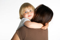 Hugging mum little girl Stock Photo