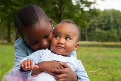 Hugging with my african sister Stock Photo