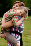 Hugging with my mother royalty free stock images