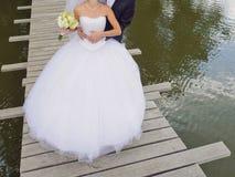 Hugging Newlyweds Royalty Free Stock Photo