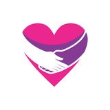HUGGING A PINK HEART ICON Stock Image