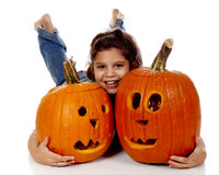 Hugging Pumpkins Royalty Free Stock Photos