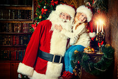 Hugging santa claus royalty free stock image