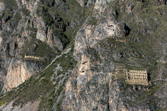 Hugging the side of a steep mountain lay a section of the Ollantaytambo ruins in Peru. Stock Photography