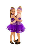 Hugging Tap Dance Friends. Two Little Girls Hugging in their Tap Dance Costume Stock Photos