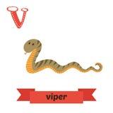 huggorm bokstav v Djurt alfabet för gulliga barn i vektor roligt Arkivbilder