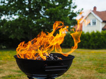 Hugh flame on barbecue Royalty Free Stock Image