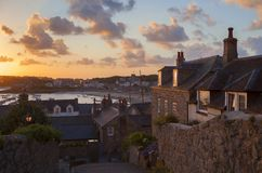 Hugh Town at dawn, St Mary's, Isles of Scilly, England Royalty Free Stock Photo