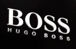 Hugo boss. Amsterdam, Netherlands-march 5, 2017: letters hugo boss on a wall in Amsterdam stock image