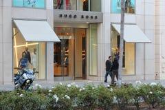 Hugo Boss, Beverly Hills. LOS ANGELES, USA - APRIL 5, 2014: Shoppers visit Hugo Boss store in Beverly Hills, Los Angeles. Hugo Boss is a German luxury fashion stock images