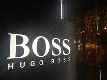 Hugo Boss-de reclame van het manierbedrijf Stock Foto's