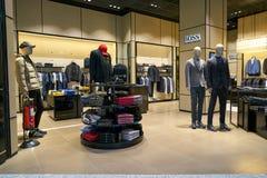 Hugo Boss. DUSSELDORF, GERMANY - CIRCA OCTOBER, 2018: Hugo Boss shop in Dusseldorf airport. Hugo Boss AG is a German luxury fashion house stock image