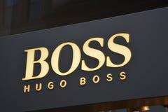 Hugo boss logo in Berlin. Hugo boss original logo in Berlin stock images