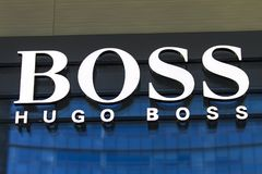 Hugo Boss shop. Detail of the Hugo Boss shop on Milan, Italy. Hugo Boss is German luxury fashion and style house founded in Metzingen at 1924 stock image