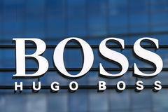 Hugo Boss shop. Detail of the Hugo Boss shop on Milan, Italy. Hugo Boss is German luxury fashion and style house founded in Metzingen at 1924 stock photos