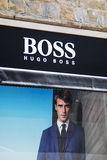 Hugo Boss shop. In Florence, Italy. Hugo Boss is German luxury fashion and style house founded in Metzingen at 1924 royalty free stock photography