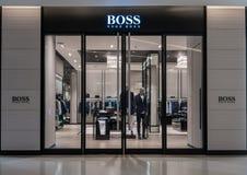Hugo Boss shoppar på Siam Paragon, Bangkok, Thailand, Oktober 19, 2018 royaltyfria foton