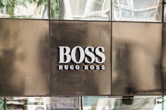 Hugo Boss Store. BUCHAREST, ROMANIA - JUNE 17: Hugo Boss Store on June 17, 2013 in Bucharest, Romania. Hugo Boss AG is a German luxury fashion and style house royalty free stock photo