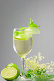 Hugo Champagne drink with elderflower syrup, mint and lime Royalty Free Stock Image