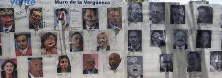 Wall of shame in Altamira Caracas Venezuela showing repressive government representatives. Hugo Chavez Nicolas Maduro and bolivarian politicians of the Stock Photos