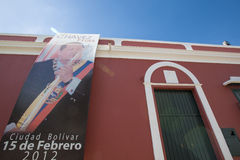 Hugo Chavez poster in Colonial city of Ciudad Bolivar, Venezuela Royalty Free Stock Photo