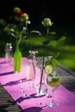 Hugo, Cocktail on a garden table with roses Stock Images