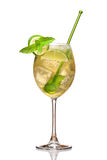 Hugo Cocktail. Made with elderflower, champagne, soda, lime and garnished with mint royalty free stock photography
