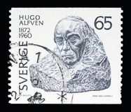 Hugo Emil Alfven, Anniversaries of Cultural Celebrities serie, c. MOSCOW, RUSSIA - MAY 10, 2018: A stamp printed in Sweden shows Hugo Emil Alfven, Anniversaries Royalty Free Stock Photo