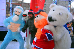 Hugo Girard με τη μασκότ Youppi! , Yeti και πολική αρκούδα Στοκ Φωτογραφίες