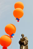 Hugo Grotius. NETHERLANDS-DELFT-APRIL 30, 2011: Hugo Grotius was decorated with balloons on Queens day in Delft royalty free stock photos