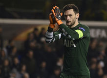 Hugo Lloris. Football players pictured during UEFA Europa League round of 16 game between Tottenham Hotspur and Borussia Dortmund on March 17, 2016 at White Hart royalty free stock images