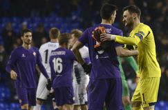 Hugo Lloris. And Nikola Kalinic pictured after the UEFA Europa League round of 32 game between Tottenham Hotspur and AC Fiorentina on February 25, 2016 at White royalty free stock photo