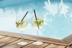 Hugo prosecco elderflower soda ice summer drink. Outdoor aperitif royalty free stock images