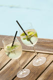 Hugo prosecco elderflower soda ice summer drink. Outdoor aperitif Stock Photo