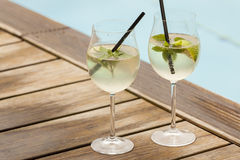 Hugo prosecco elderflower soda ice summer drink Stock Photo