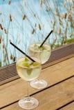 Hugo prosecco elderflower soda ice summer drink. Outdoor aperitif royalty free stock image